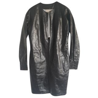 Yves Saint Laurent Black Leather Coat