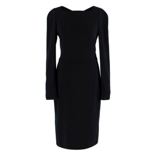 Tom Ford Black Keyhole Back Midi Fitted Dress