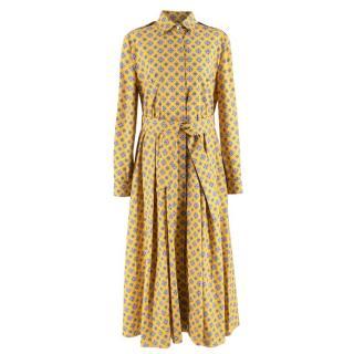 Max Mara Yellow Printed Belted Cotton Midi Shirt Dress