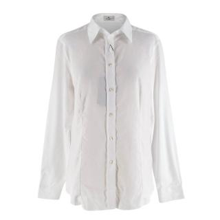 Etro White Paisley Print Cotton Slim Fit Shirt