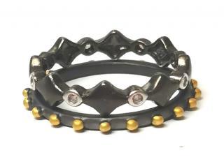 Freida Rothman Rhodium Tone Embellished Stack Rings