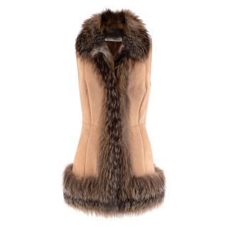 Simonetta Ravizza Cream Suede Vest with Fox Fur Trim