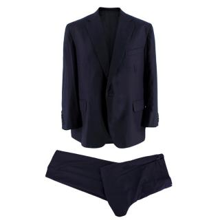 Bespoke Navy Wool-Blend Tailored Single-Breasted Suit
