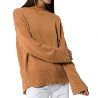 Frame Tan Cashmere High Neck Jumper