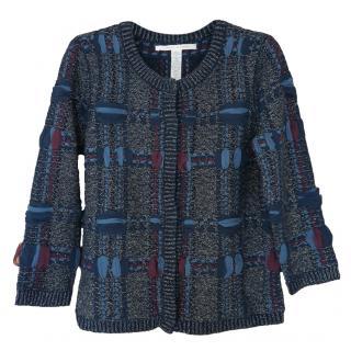 Diane Von Furstenberg Blue Wool Cashmere Blend Cardigan