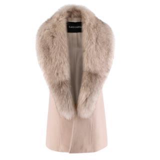 Flavio Castellani Beige Wool & Cashmere Long Vest with Fox Fur