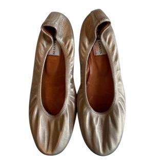 Lanvin Metallic Gold Leather Ballerina Flats