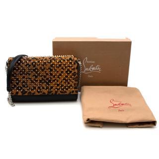 Christian Louboutin Black & Leopard Leather Paloma Clutch