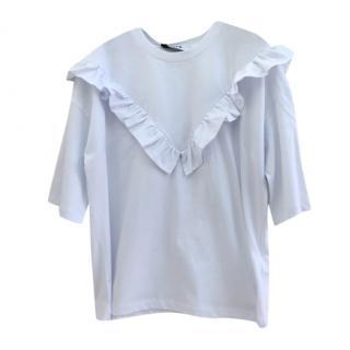 MSGM White Frilled V T-Shirt
