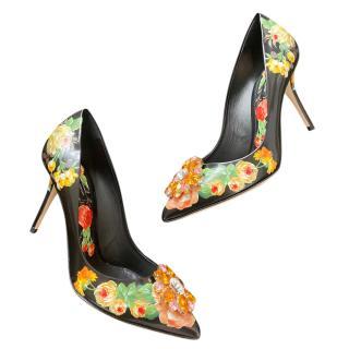 Dolce & Gabbana floral Taormina crystal pumps