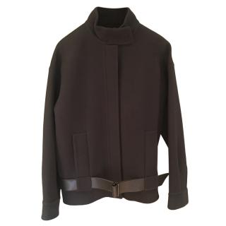 Hermes black double faced cashmere jacket with lambskin belt