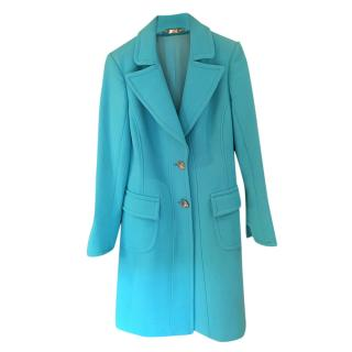 Versace vintage turquoise fitted wool coat