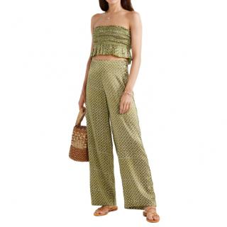 Cloe Cassandro Green Lemon Printed Silk-Satin Set