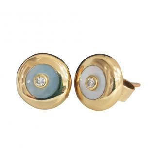 Bespoke Diamond Set Mother of Pearl Yellow Gold Earrings