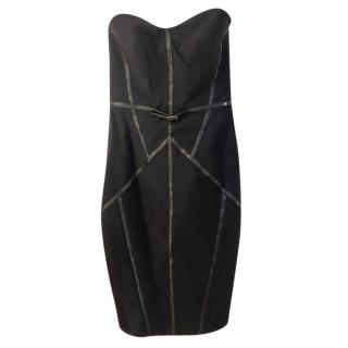Elisabetta Franchi Black Strapless Leather Trim Dress