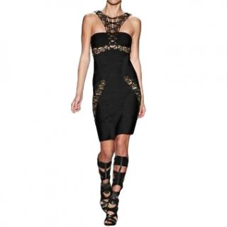 Leger Gold Beaded Black Bandage Alek Dress