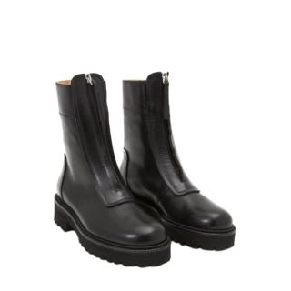 MM6 Maison Martin Margiela Zip Front Creeper Boot in Black