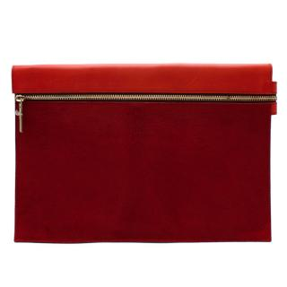 Victoria Beckham Red Leather & Pony Hair Pouch
