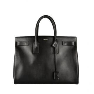 Saint Laurent Black Medium Leather Sac Du Jour Tote Bag
