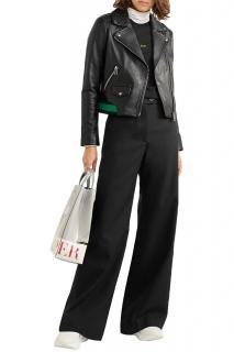 Maje Black Leather Jacket with Knit Trim