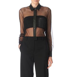 Alexander Wang Black Leather Trim Sheer Tulle Shirt