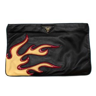 Prada Black Leather Runway Flame Pouch