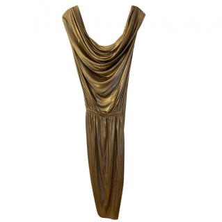 Moschino Cheap & Chic Gold Lame Draped Dress