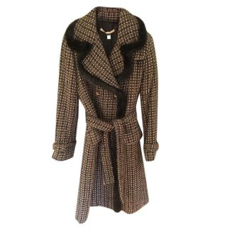 Class Cavalli Tweed Rabbit Fur Trim Trench Coat
