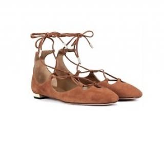 Aquazzura Brown Suede Lace-Up Flats