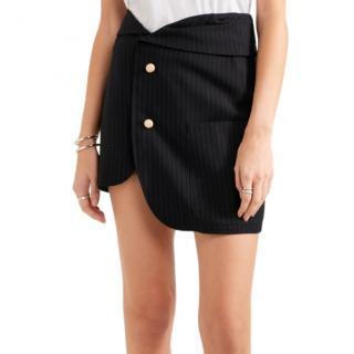Jacquemus Navy Pinstripe Wool Asymmetric Mini Skirt