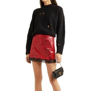 Philosophy di Lorenzo Serafini Metallic Georgette Lace Trim Mini Skirt