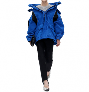 Balenciaga Blue & Black Runway Oversize Padded Jacket