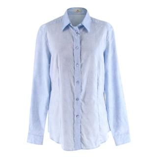Etro Light Blue Paisley-Jacquard Cotton Shirt