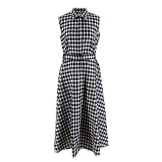 Max Mara Black and White ChecK Belted Dress