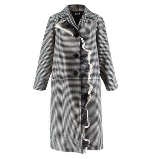 Miu Miu Wool & Mohair Gingham Coat with Lace Detail