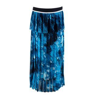 Victoria Beckham Printed Satin crepe pleated midi skirt