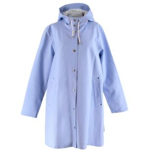 Stutterheim Light Blue Rubberized Hooded Rain Coat