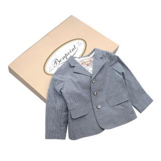 Bonpoint Blue Cotton Pinstripe Blazer