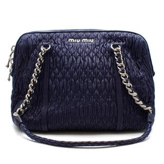 Miu Miu Blue Cloque Leather Shoulder Bag with Silver Hardware