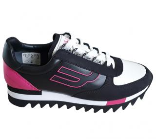 Bally Black, White & Pink Calfskin Sneakers