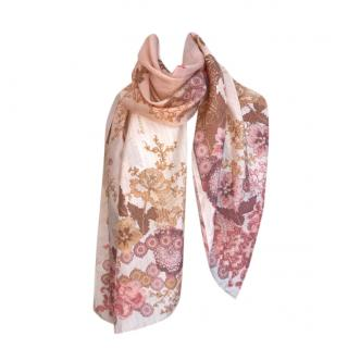 Galliano Vintage Pink Silk Floral Shawl