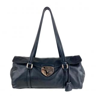 Prada Black Calfskin Leather Tote Bag