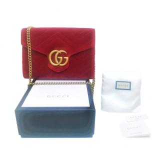 Gucci Red Velvet Marmont Square Shoulder Bag