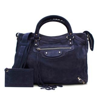 Balenciaga Blue Suede Fringed Classic City Bag