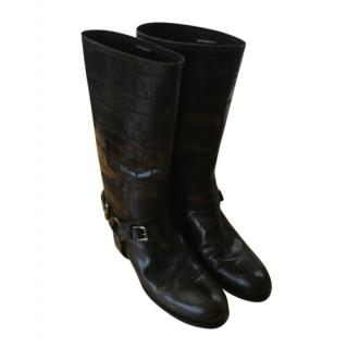 Christian Dior Crocodile Embossed Brown Leather Boots