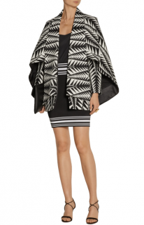Balmain Black & White Jacquard Cape Coat