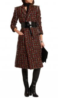 Haider Ackermann Wool-blend Red & Black Tweed Coat