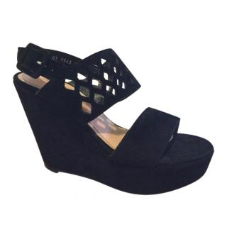 Robert Clergerie Black Suede Cut-Out Wedge Sandals