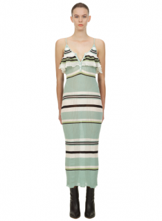 Self Portrait Mint Multi Stripe Knit Cami Dress