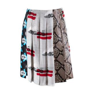 Prada Iconic Print and Python Print Runway Pleated Mini Skirt